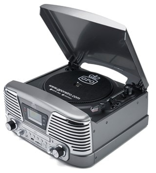 GPO Memphis Silver USB Turntable with CD Player & Radio (online only)