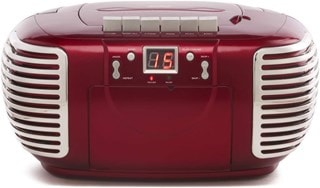 GPO PCD299 Red CD & Cassette Player with AM/FM Radio