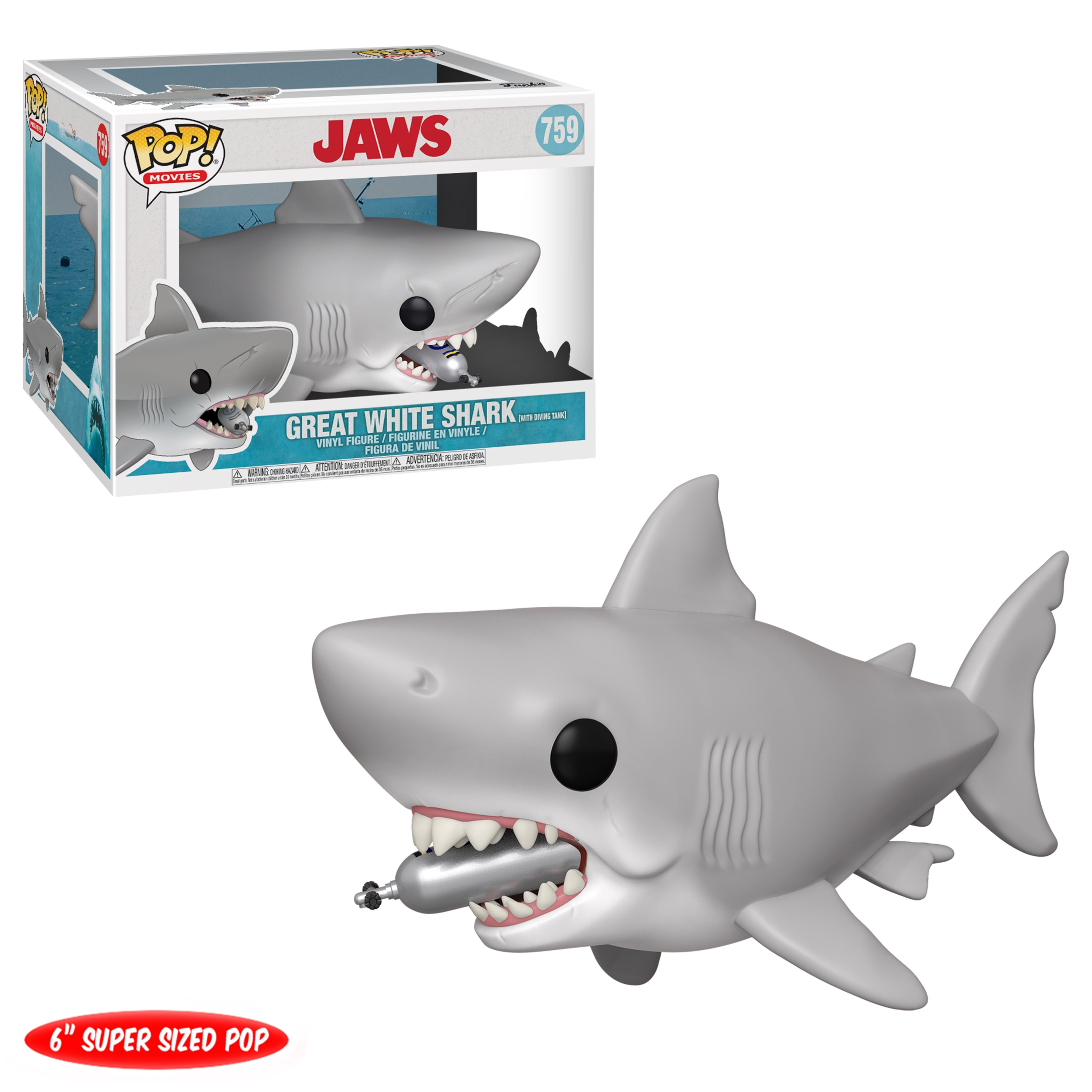 Pop Vinyl: Jaws With Diving Tank (759): Great White Shark: 6 Inch - 1