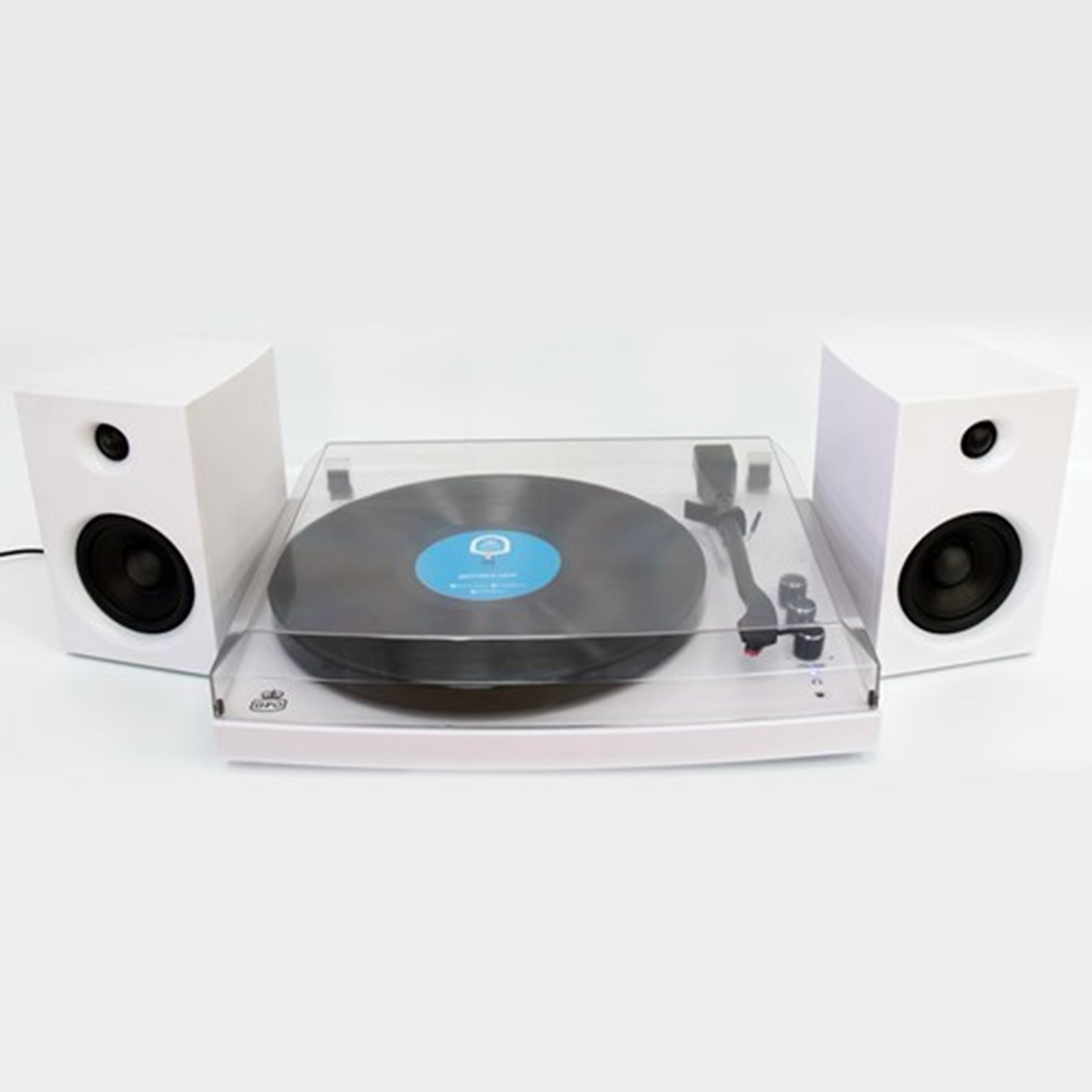 GPO Piccadilly Matte White Turntable With Speakers (hmv Exclusive) - 1