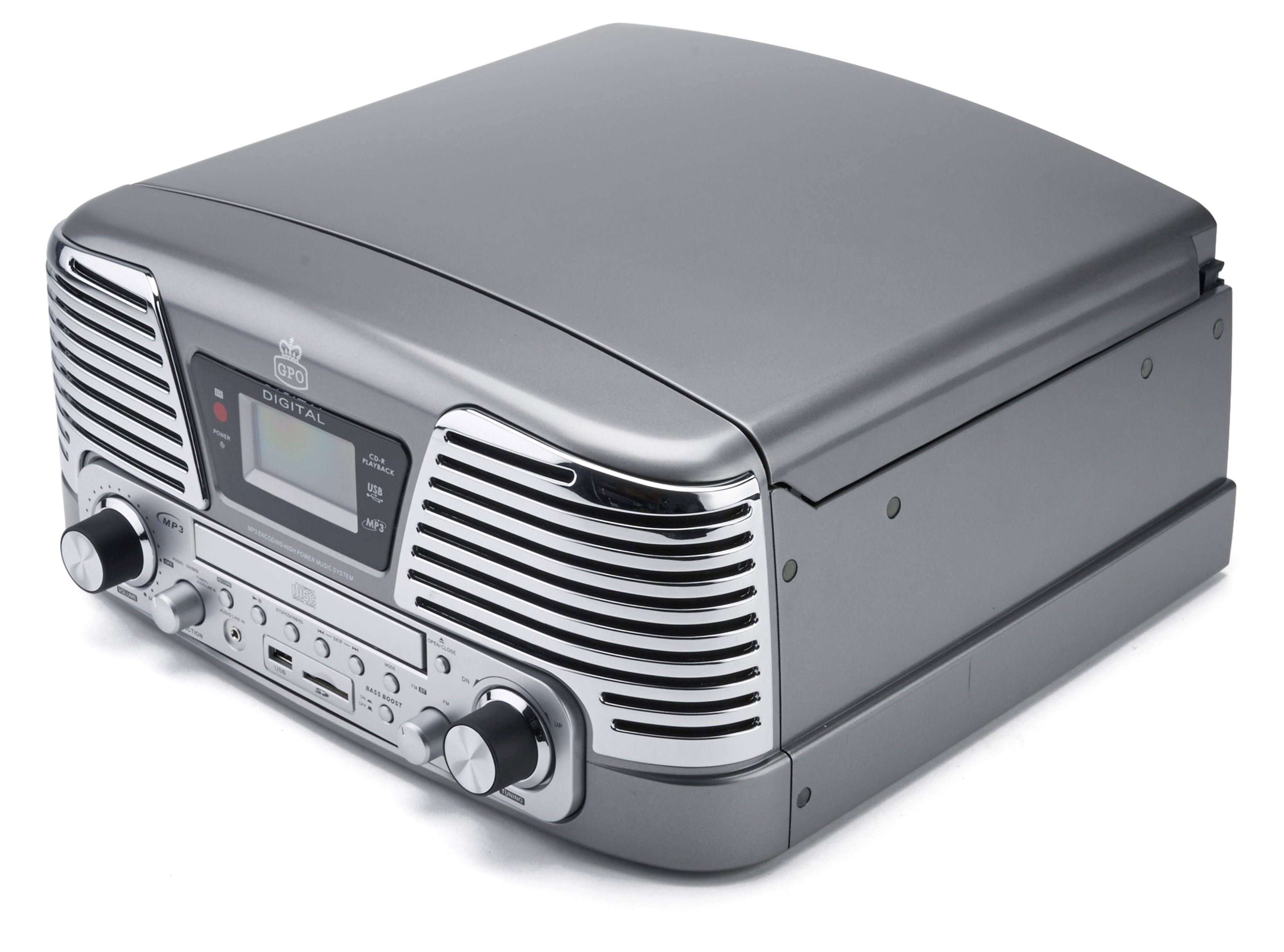 GPO Memphis Silver USB Turntable with CD Player & Radio (online only) - 2