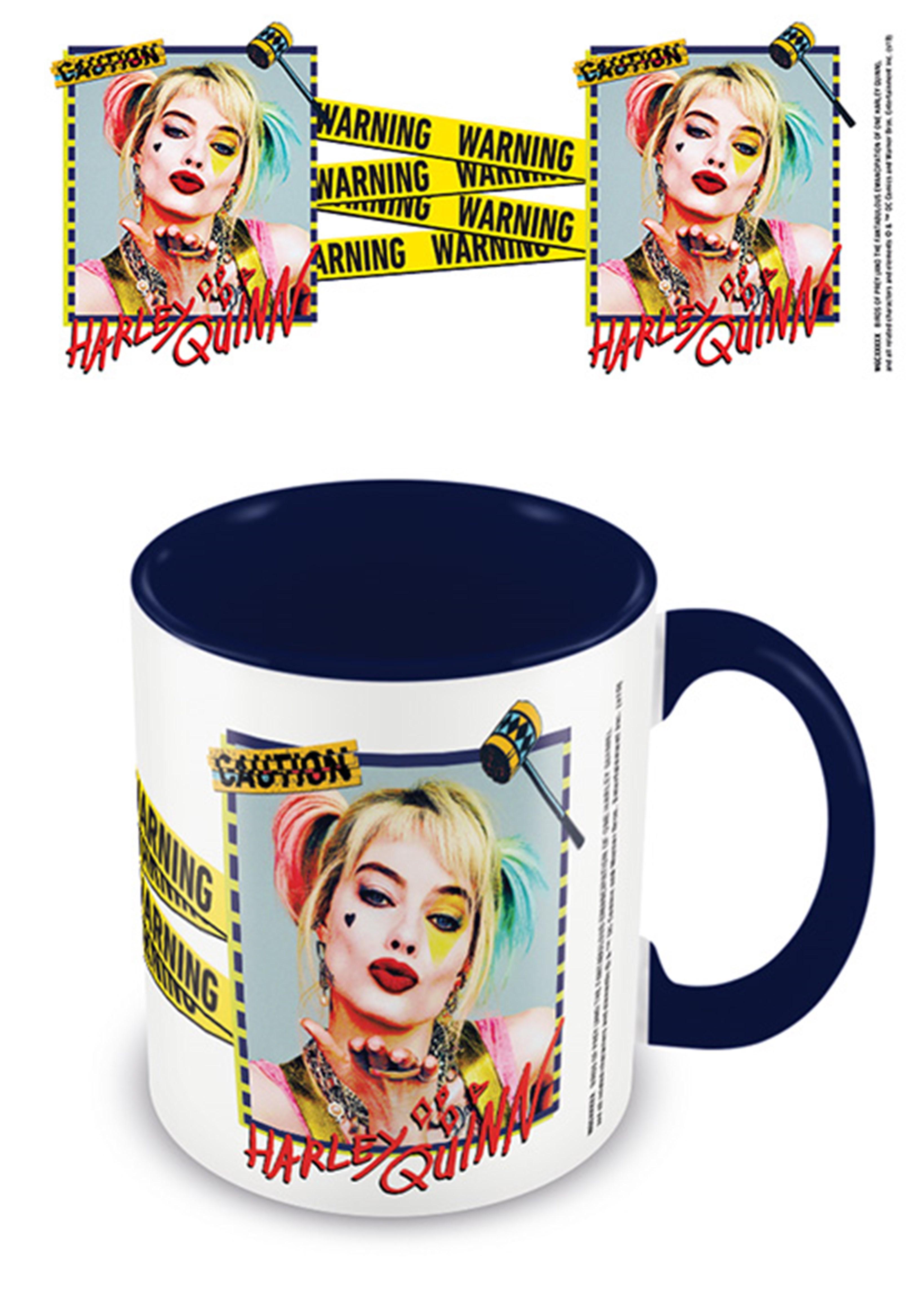 Coloured Inner Mug: Birds Of Prey (Harley Quinn Warning) Black - 1