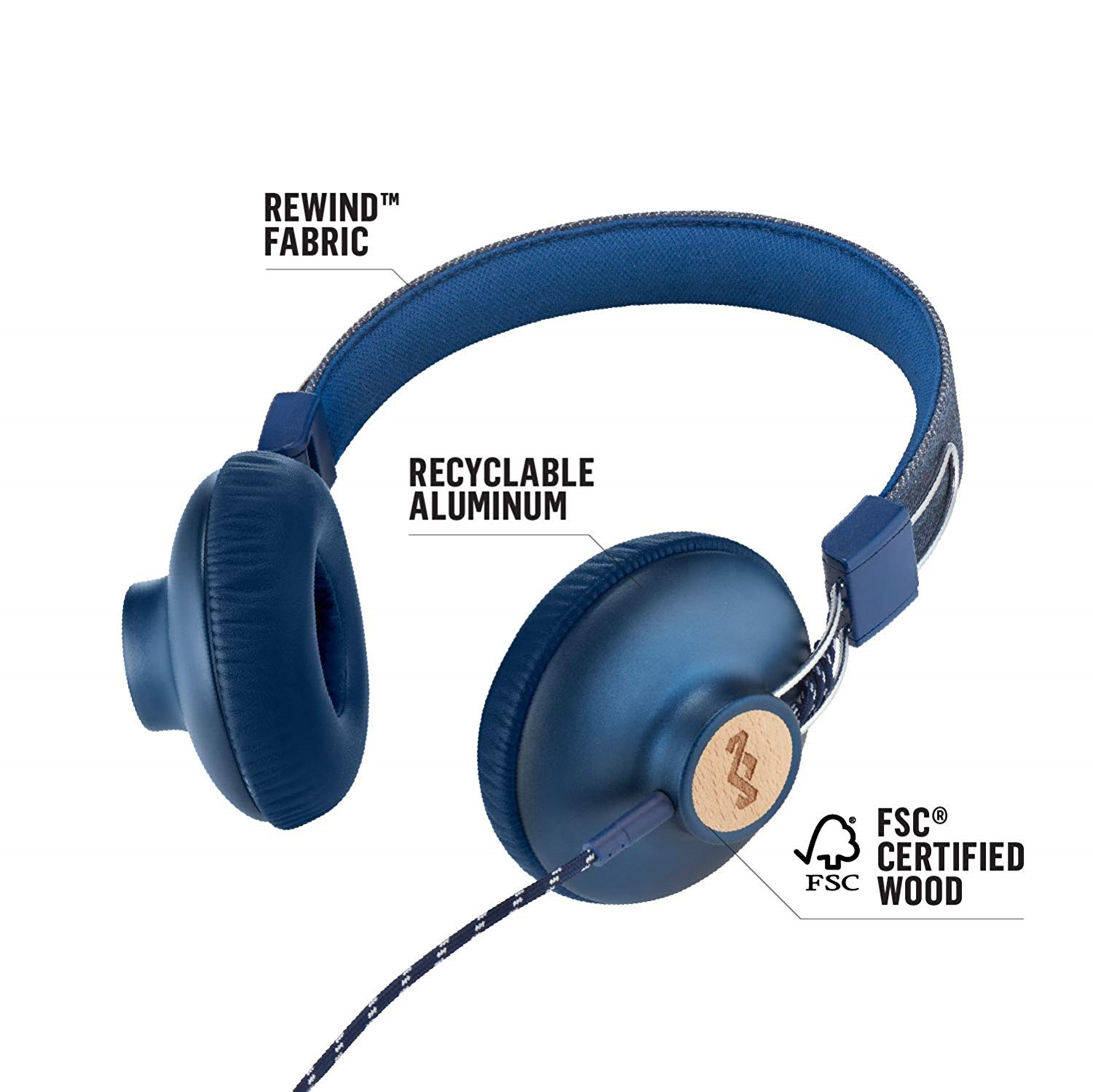 House Of Marley Positive Vibration 2.0 Denim Headphones w/Mic (hmv Exclusive) - 3
