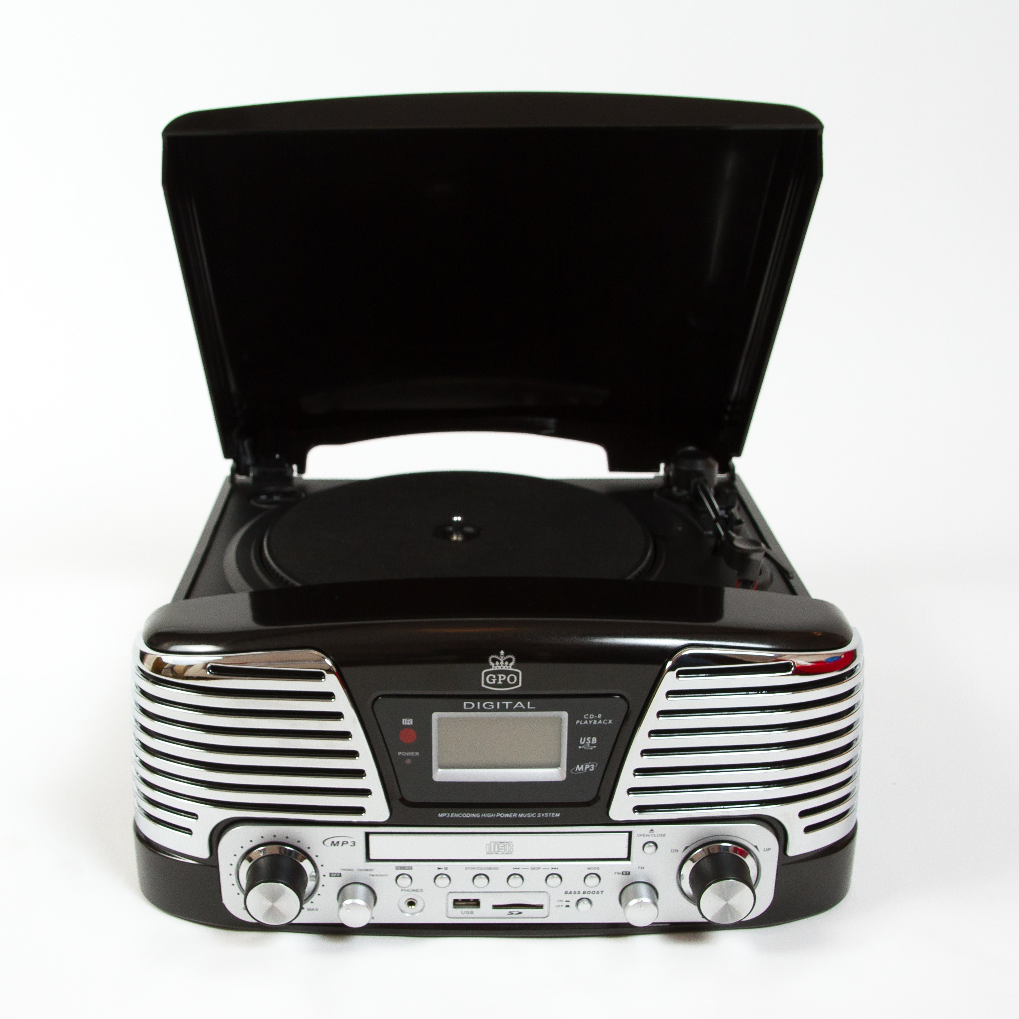 GPO Memphis Black USB Turntable with CD Player & Radio (online only) - 2