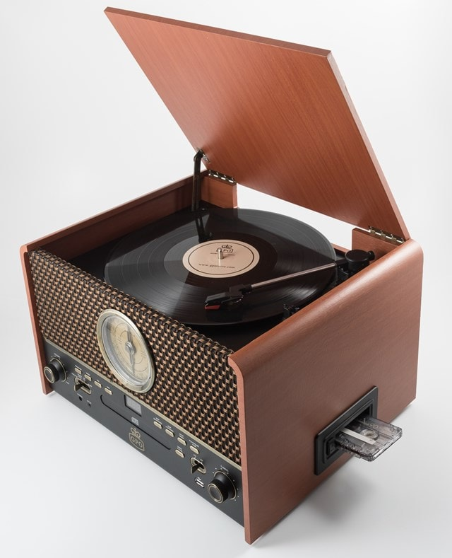GPO Chesterton Wood 5-In-1 USB Turntable w/ Radio, CD & Cassette Player - 1
