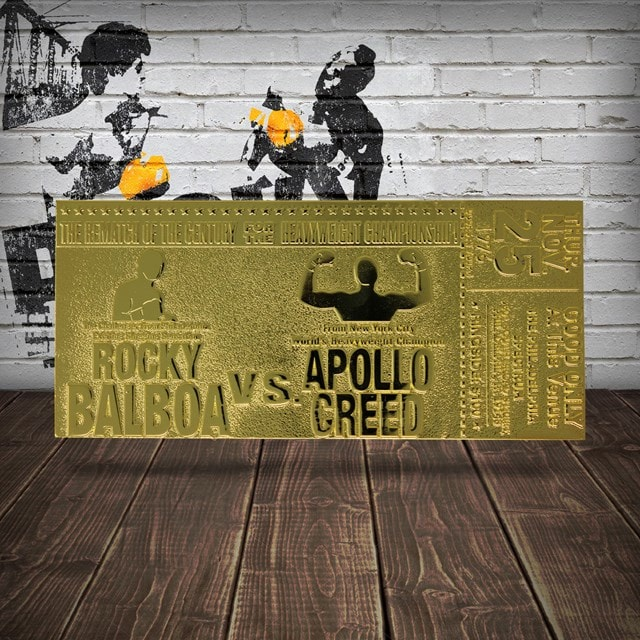 Rocky II Apollo Creed Fight Ticket: 24K Gold Plated Limited Edition Collectible - 2