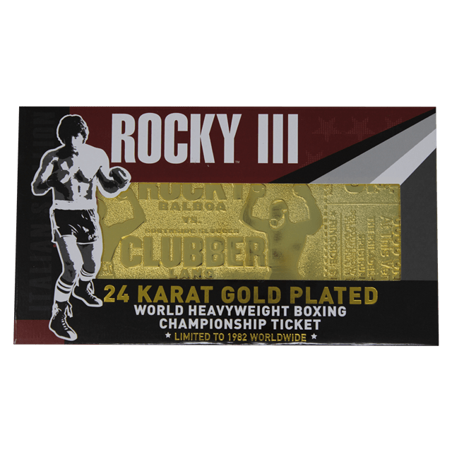 Rocky III Clubber Lang Fight Ticket: 24K Gold Plated Limited Edition Collectible - 5