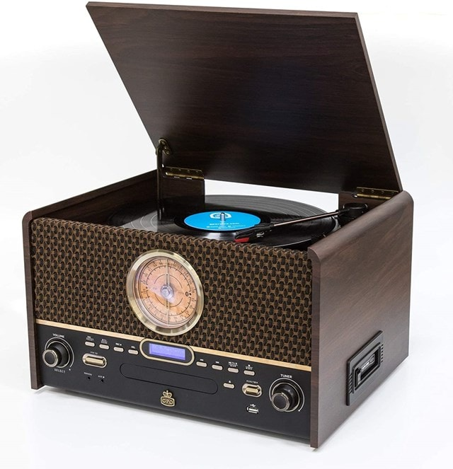 GPO Chesterton DAB Wood 5-In-1 USB Turntable w/ DAB Radio, CD & Cassette Player - 1