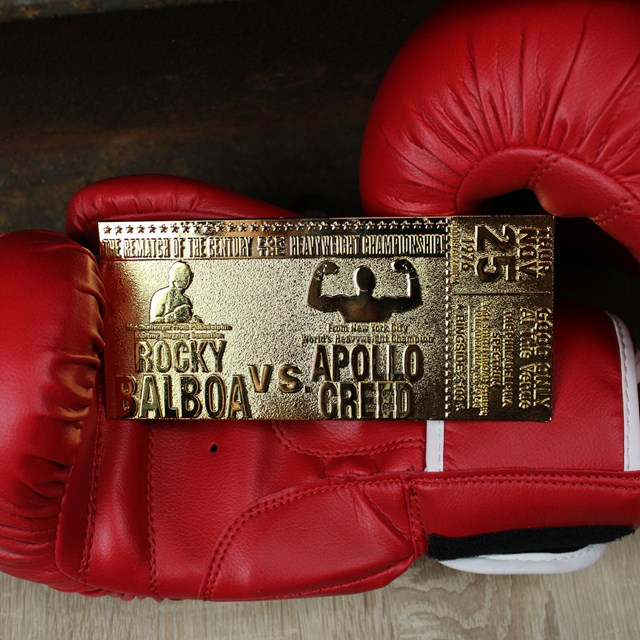Rocky II Apollo Creed Fight Ticket: 24K Gold Plated Limited Edition Collectible - 3
