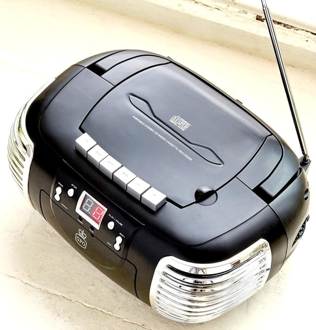 GPO Black CD & Cassette Player w/ AM/FM Radio - 5