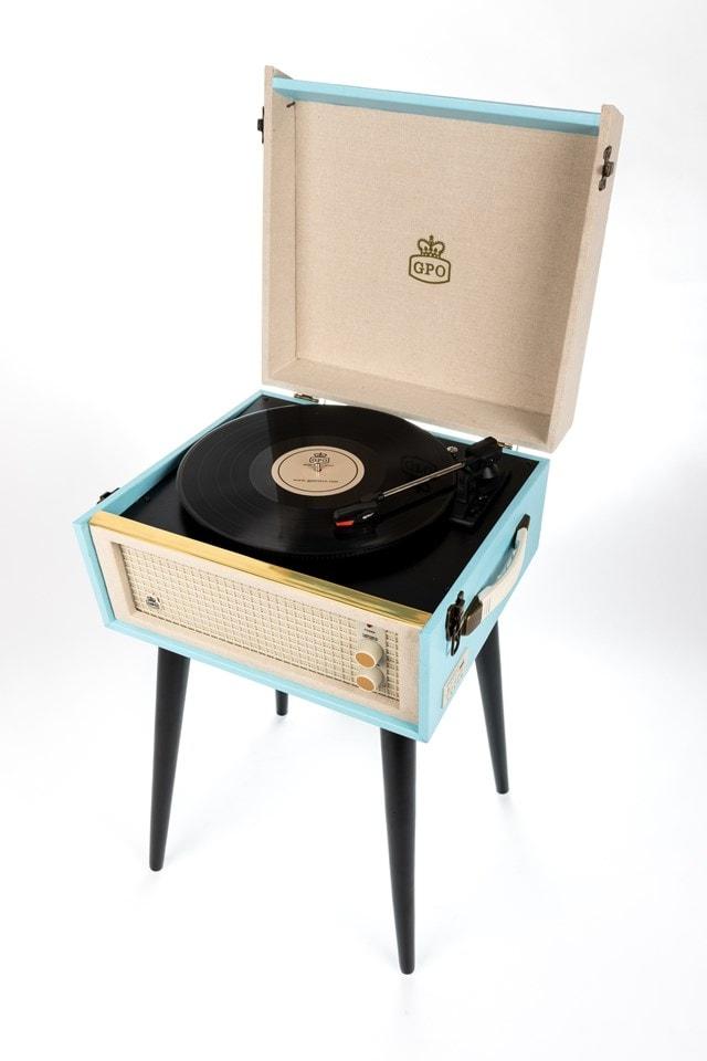 GPO Bermuda Blue Turntable - MP3 USB & Built-In Speaker - 1