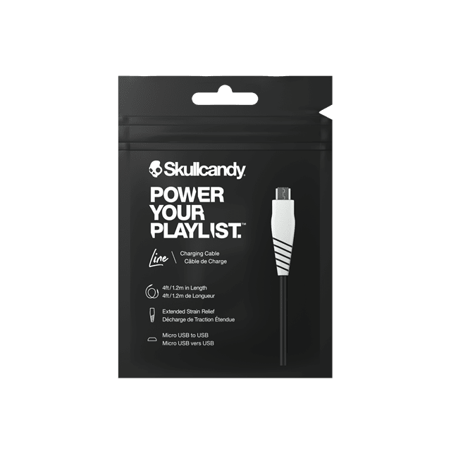 Skullcandy Round Micro USB Black/White Charge & Sync Cable 1.2m - 2