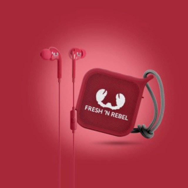 Fresh N Rebel Gift Pack Ruby: Vibe Earphones & Pebble Bluetooth Speaker - 2