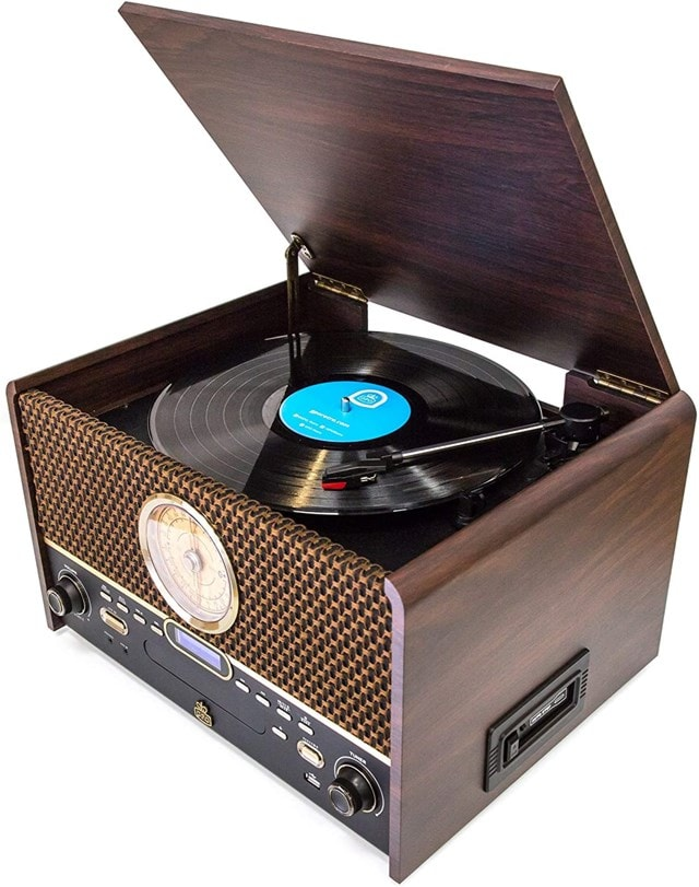 GPO Chesterton DAB Wood 5-In-1 USB Turntable w/ DAB Radio, CD & Cassette Player - 4
