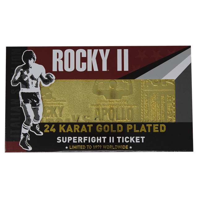 Rocky II Apollo Creed Fight Ticket: 24K Gold Plated Limited Edition Collectible - 5