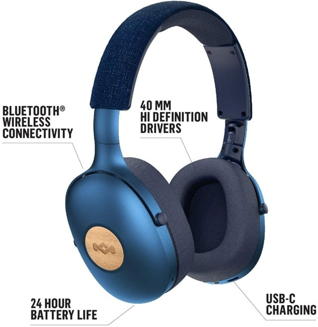 House Of Marley Positive Vibration XL Blue Bluetooth Headphones - 3