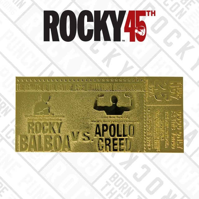 Rocky II Apollo Creed Fight Ticket: 24K Gold Plated Limited Edition Collectible - 1