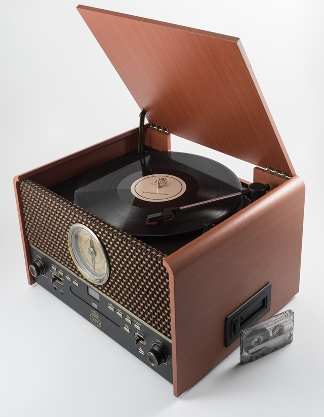 GPO Chesterton Wood 5-In-1 USB Turntable w/ Radio, CD & Cassette Player - 3