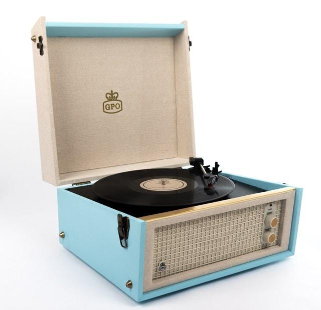 GPO Bermuda Blue Turntable - MP3 USB & Built-In Speaker - 2