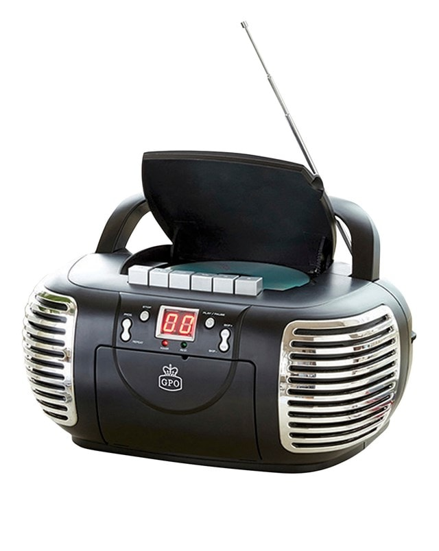 GPO Black CD & Cassette Player w/ AM/FM Radio - 2