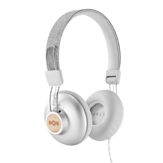 House Of Marley Positive Vibration 2.0 Silver Headphones w/Mic - 1