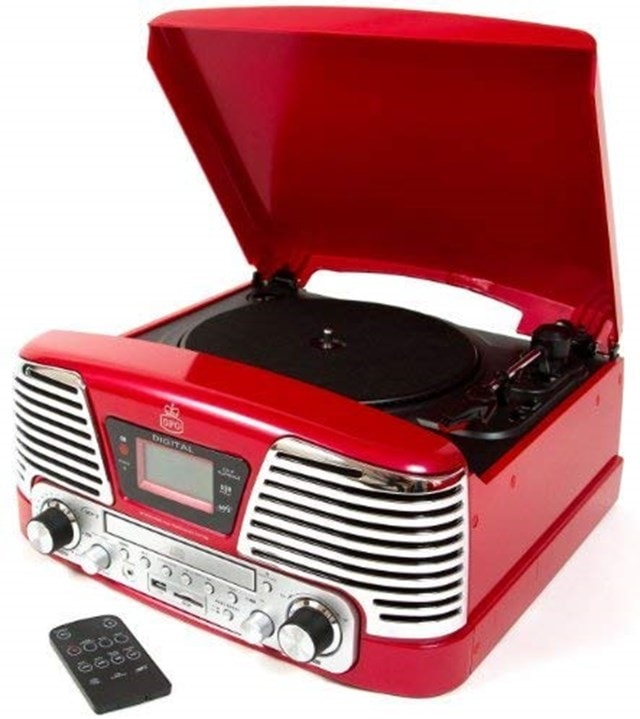 GPO Memphis Red USB Turntable with CD Player & FM Radio - 1