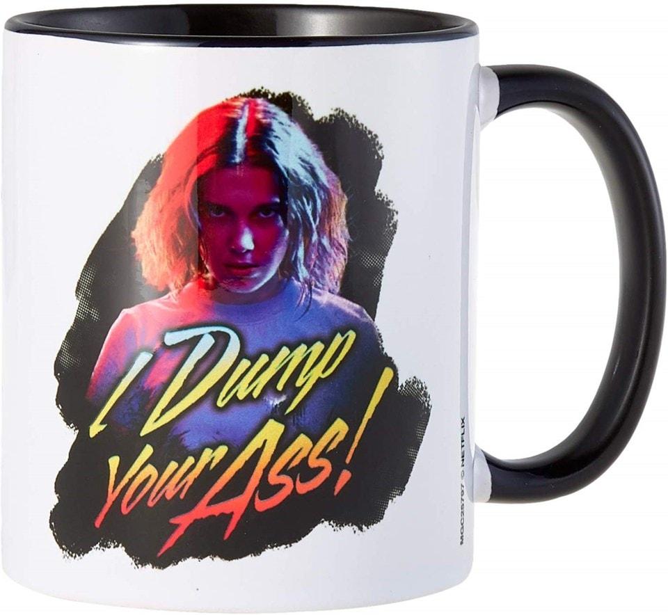 Coloured Inner Mug: Stranger Things: I Dump Your Ass Retro (Black) - 1