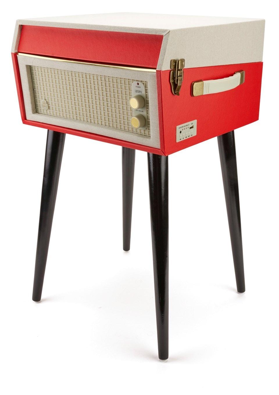 GPO Bermuda Red Turntable - MP3 USB & Built-In Speaker - 4