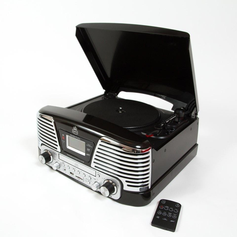 GPO Memphis Black USB Turntable with CD Player & Radio (online only) - 1
